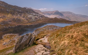 Picture mountains, lake, rocks, Wales, Snowdonia, Llyn Of Bolid