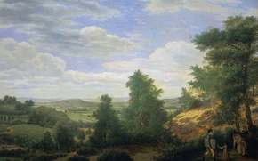 Picture landscape, oil, picture, canvas, Peter Rudolf Klein, The view of the valley of Montmorency