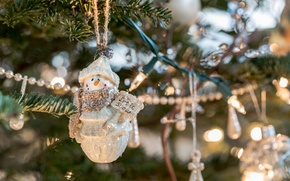 Picture toy, tree, snowman, tree, garland, bokeh