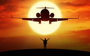 Wallpaper height, turbojet, silhouette, flight, bokeh, wallpaper., beautiful background, airplane, the plane, people freedom, planet without ...