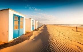 Picture sea, beach, shore, Netherlands, Texel, beach house