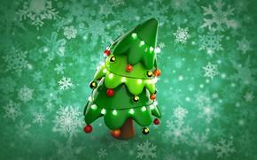 Picture winter, balls, snowflakes, rendering, holiday, new year, art, herringbone, children's