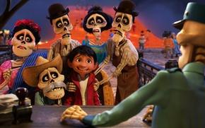 Picture Pixar, hat, eyes, boy, Coco, animated film, bones, animated movie, skull and bones, sull