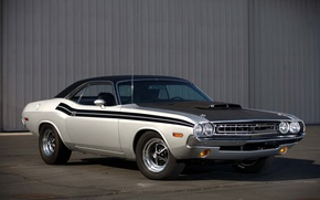 Picture silver, Dodge Challenger, american muscle classic