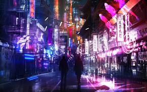 Picture light, night, lights, street, sign, neon