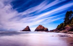 Picture sea, the sky, clouds, coast, horizon, Oregon, USA