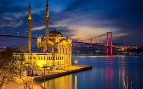 Picture night, bridge, lights, Strait, mosque, Istanbul, Turkey, the minaret