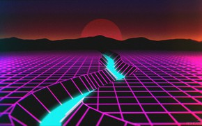 Picture The sun, Mountains, Music, River, Neon, Background, Retro, Synthpop, VHS, Darkwave, Synth, Retrowave, Synthwave, Synth …