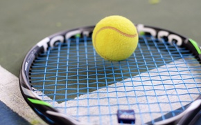 Picture the ball, racket, tennis