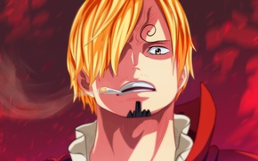 Picture red, One Piece, pirate, smoke, man, cigarette, face, blond, suit, prince, angry, smoker, cook, fury, …