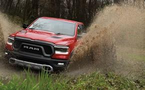 Picture squirt, dirt, Dodge, the roads, pickup, 1500, Ram, 2019, Rebel Quad Cab