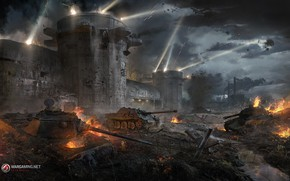 Picture weapons, fortress, the battle, tanks, Flak tower
