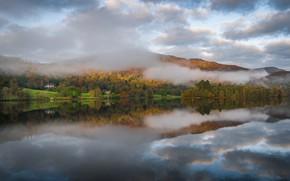 Picture autumn, mountains, fog, lake, England, Cumbria