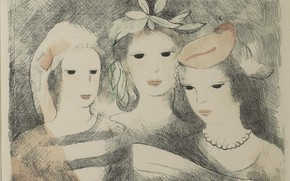 Picture flowers, beads, three girls, Singing, Modern, Marie Laurencin