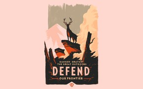 Picture Mountains, The game, Forest, Deer, Poster, Campo Santo, Firewatch, Fire watch, Defend our frontier, Bravery …
