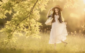 Picture summer, doll, dress, hat, lady