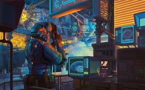 Picture devices, monitor, laboratory, Retro Lab Scifi