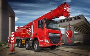 Picture red, design, DAF, DAF, 8x4, stops, platform, Euro6, DAF CF 440 FAD, crane