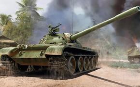 Picture war, battle, Soviet medium tank, T-54A