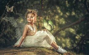 Picture girl, child, sneakers, fairy, Aleksandr Myshkevich, nature, outfit, FAE, butterfly, wings, dress