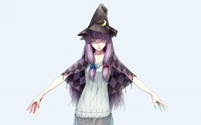 Picture hands, bows, blue eyes, jacket, Cape, art, blue background, witch hat, Touhou Project, lilac hair, …