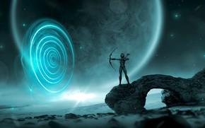 Wallpaper sea, girl, stars, light, night, time, space, pose, fog, stones, fiction, rocks, planet, ball, goal, ...
