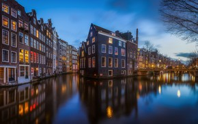 Wallpaper water, the evening, channel, Netherlands, Amsterdam, lights, the city, home, light