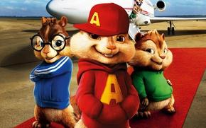 Picture cinema, airport, movie, jet, film, animated film, animated movie, Alvin and the Chipmunks