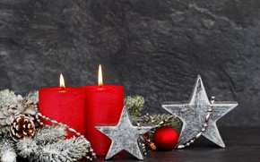 Picture star, new year, candles, bumps, decor, fir-tree branches