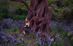 Picture girl, flowers, roots, tree, petals, dress, Lichon, Beacon Hill