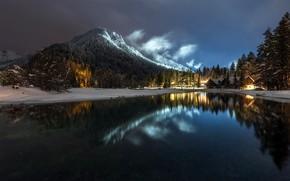 Wallpaper mountains, night, lake