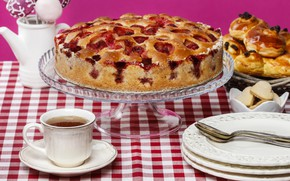 Picture tea, pie, cakes, tablecloth