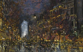 Picture picture, the urban landscape, Konstantin Korovin, View Of Paris By Night