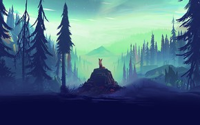 Wallpaper rocks, illustration, trees, animal, pine, forest, horizon, arwork, aurorae, Mikael Gustafsson, digital art, artist, pine ...