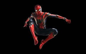 Wallpaper costume, fiction, The Avengers: infinity War, Spider Man, MARVEL, black background, Spider - man, Peter ...