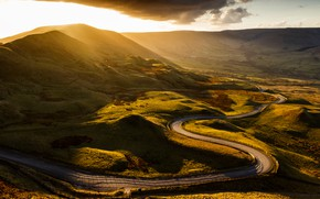 Picture road, the sun, clouds, mountains, England, valley, Derbyshire, Mam Tor, Castleton