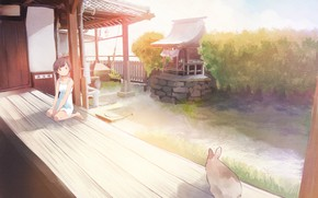 Picture roof, summer, grass, the fence, Japan, yard, girl, canopy, sitting, the bushes, ears, veranda, sundress, …