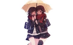 Picture girls, girls, umbrella, anime, white background