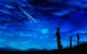 Picture the sky, stars, clouds, night, girls, anime, guy, shooting star, Miyuki Harada, miyamizu mitsuha, Kimi …