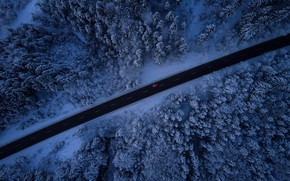 Wallpaper the view from the top, snow, machine, winter, road, trees, forest