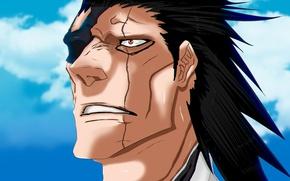 Picture demon, game, Bleach, sky, anime, cloud, face, hero, manga, japanese, god, oriental, powerful, So Zaraki, …