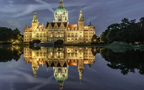 Picture landscape, night, lights, pond, Park, Germany, Hanover, new town hall