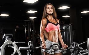 Wallpaper sportswear, Weight bar, gym, fitness, pose, girl