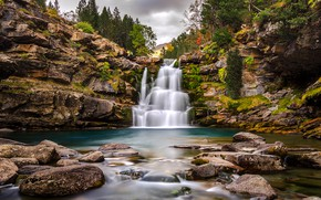 Picture forest, trees, stones, rocks, waterfall, Spain, Aragon, Ordesa