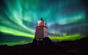 Picture the sky, stars, night, stones, rocks, lighthouse, Northern lights