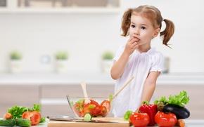 Picture child, kitchen, girl, vegetables, child, salad, tomatoes, vegetables, little girls