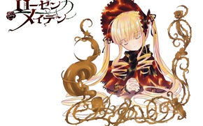 Picture doll, white background, long hair, prayer, closed eyes, Rozen maiden, Rozen Maiden, drape, Kapor, Shinku, …