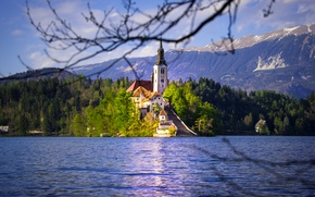 Picture mountains, lake, island, Church, Slovenia, Lake Bled, Slovenia, Lake bled, Bled, Assumption of Mary Pilgrimage …