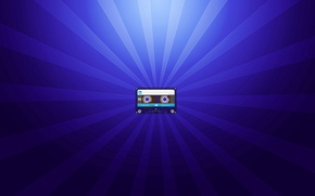 Picture rays, minimalism, blue, cassette, audio cassette, cassette, background blue, audio cassettes, scumbria