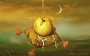 Picture the moon, Apple, pillow, Surrealism, Lazarev I. A